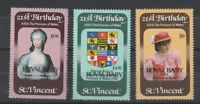 St VINCENT 1982 BIRTH OF PRINCE WILLIAM SET OF ALL 3 COMMEMORATIVE STAMPS MNH