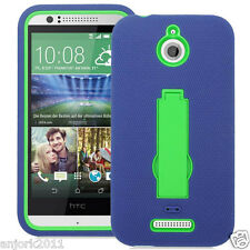 HTC Desire 510 Hybrid Defender Armor Case w/Stand Skin Cover Navy Green