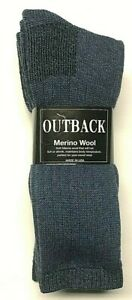 3 Pair Men Acrylic & Merino Wool Hunting/ Work Heavy Blue Boot Sock Size 10-13.