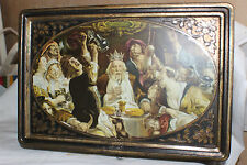 Vintage Biscuit Tin Box with Key ALSA Nançy - the King and his court
