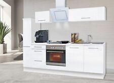 Küchenzeile Küche Küchenblock Einbauküche Hochglanz Komplett 240cm Weiß respekta