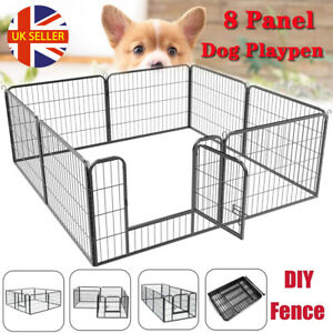 8 Panel Foldable Pet Play Pen Puppy Dog Animal Cage Run Fence Exercise Metal UK