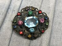 Vintage Czech Brooch Gold Tone Filigree Glass Pin Art Deco Costume Jewellery
