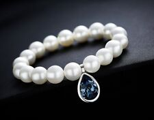 Rhodium Plated 9MM Mother of Pearl Bracelet Made with Swarovski Crystal