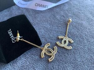 Authentic XL Gold Tone Chanel Dangle CC Logo Drop Chain VIP Gift Earrings