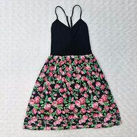 Victoria Secret PINK Black Pink Floral Dress Layered Rose Summer Flirty Sz XS