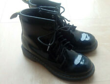 Dr Martens air wair glossy black lace up & zip boots size UK 2 EU 34 childs kids