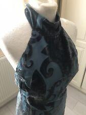 Tenax Made In Italy Dusky Blue Velvet & Silk Halter Midi Dress Size 12