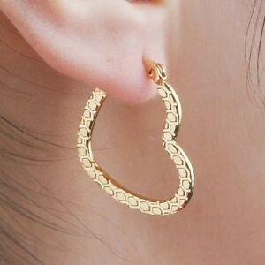 Stainless steel 18k gold plated stunning heart hoops 3.4cm Anti tarnish *NEW*