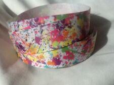Rainbow Splatter 25mm Grosgrain Ribbon 3 Meter Length Hair Bows Craft Sewing