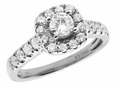 14K White Gold Genuine Diamond Ladies Halo Solitaire Engagement Ring 1.0CT