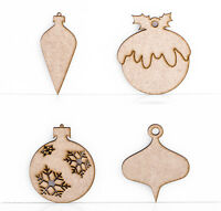 Wooden MDF Christmas Tree Baubles Snowflake Decoration 3mm Thick Laser Cut