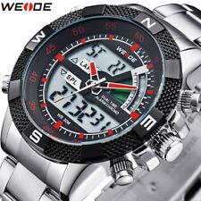 WEIDE Men's Sport Watch LCD Day Date Alarm Stainless Steel Quartz military Watch