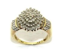 Ladies womens 9ct 9carat yellow gold diamond cluster engagement ring size O