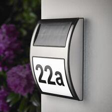 Solar Hausnummer mit LED Beleuchtung Hausnummernleuchte Solar Edelstahl SH08