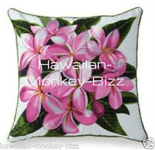 "NEW! ~ ""PINK PLUMERIAS"" EMBROIDERED COTTON/TWILL PILLOW COVER!"