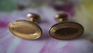 Antique Gold Plated Etched Bean Back Cufflinks Rare