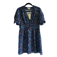 The Korner Womens Dress Short Sleeve Blue Floral Print Cotton Blend Size Medium