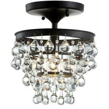 JONATHAN Y Toronto 10 in. Oil Rubbed Bronze Metal/Crystal LED Flush Mount
