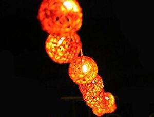 20 Bulb orange rattan ball light string LED 2 metre long battery party event