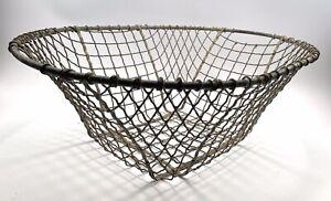 Vintage French metal Oyster Basket Fireside Wood Laundry Display Basket