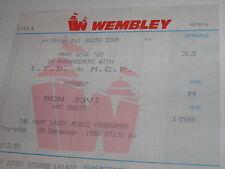 Bon Jovi  Vintage Ticket Stub Wembley Arena 8 DEC 1988