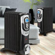 Set of 2 oil filled radiator mobile garage device heater warmer living bath room