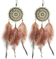 F1387 fashion brown Feather circle chain dangle chandelier earrings jewelry