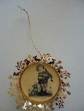 "Danbury 1st Hummel Gold Christmas Ornament ARS 1988 ""NOT FOR YOU"" DOG AND BOY"