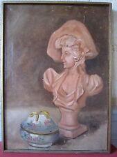 HST huile sur toile peinture tableau buste femme sculpture bonbonnière
