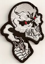 SKULL WITH REVOLVER GUNS EMBROIDERED IRON ON BIKER PATCH