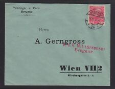 AUSTRIA 1916 MILITARY CENSORED WWI COVER BREGENZ TO VIENNA