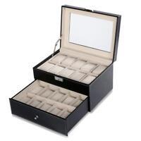 Homdox 10/20 Slot Watch Box Leather Display Case Organizer Jewelry Storage Glass