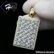 MEN 925 STERLING SILVER LAB DIAMOND ICED  BLING GOLD HIPHOP DOG TAG PENDANT*G223