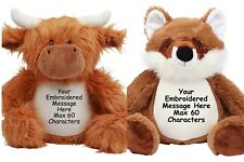 Personalised Highland Cow Fox Teddy Bear Gift Baby Birthday Pageboy Flower Girl