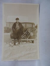 VINTAGE REAL PHOTO POSTCARD HUNTER WITH DAYS KILL STRAPPED TO CAR NORTHERN MAINE