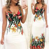 Summer Women Boho Floral Cocktail Party Evening Long Maxi Dress Chiffon Dresses