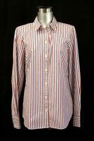 J CREW Classic Fit Button-Up Shirt Washed Blue Red Stripe RECENT Modern MEDIUM