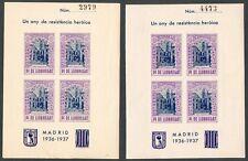 ESPAÑA - 2 HOJITAS BLOQUE - PI DE LLOBREGAT - GUERRA CIVIL - LOCALES - MNH