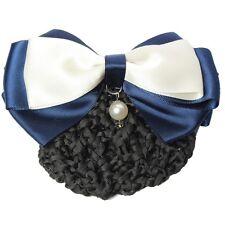 Haarclip mit Haarnetz Dutt Haarklammer Schleife Perle Blau Weiß