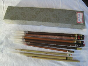 Set of 10 Vintage Quality Chinese Calligraphy Sumi e Brushes boxed - never used