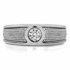0.25 Ct Natural Diamond Mens Rings Hallmarked 14K White Gold Diamond Men' s Band