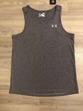 Nwt Men'S Sz S Under Armour Dark Gray Fine Stripe Fitted Tank Top Shirt $27.99