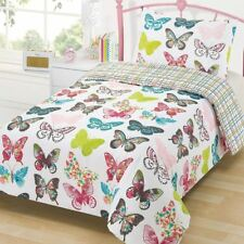 LAYLA BUTTERFLY DOUBLE DUVET COVER & PILLWCASE SET COLOURFUL BUTTERFLIES NEW