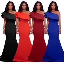 Abito lungo volant scollo Svasato Cerimonia Ballo Party Mermaid Evening Dress M