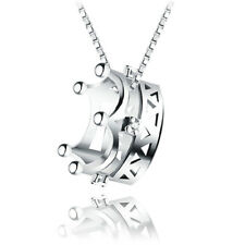 Women 925 Sterling Silver Plated Luxury Crown Choker Sweater Pendant Necklace