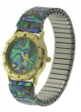 Women's Genuine Abalone Stretch Band Watch With Roman Numerals Fashion Bracelet