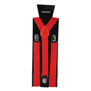 43 Color Elastic Leather Suspenders Men 3 Clips Vintage Braces Women Suspenders