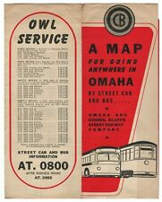 ca. 1940's Omaha & Council Bluffs Street Railway map (trolley and bus)