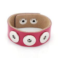 Leder ARMBAND 3 Chunks Chunk Click Button Druckknopf (18-22 cm) Pink Rosa #4114